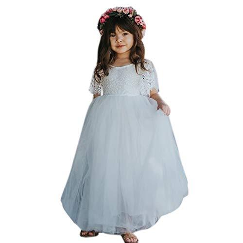 AmyGline Mädchen Kleider Rock Kinder Baby Mädchen Blume Kleidung Kurzearm Prinzessin Kleid Spitze Tüll Rock Brautjungfer Festzug Party Kleid 0-5 Jahre