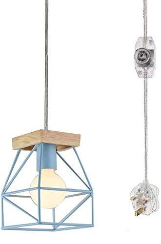 QTWW Lámpara Colgante de Pantalla Azul con Mango de Madera con Cable de Interruptor de atenuación de Encendido/Apagado CE enchufable de 15 pies