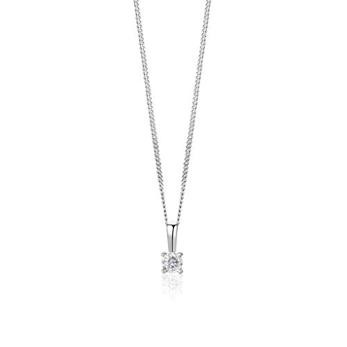 Orovi Halskette für Damen mit Diamant Weißgold Kette 9 Karat (375) Brillianten 0.04crt, Goldkette