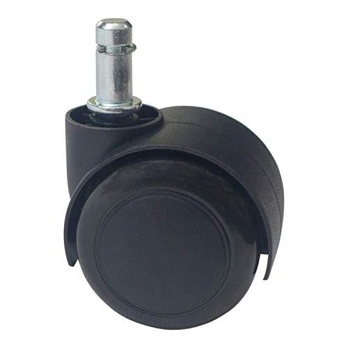 5 Ruedas giratorias de Poliuretano Negro para Silla de Oficina (50 mm de diametro)