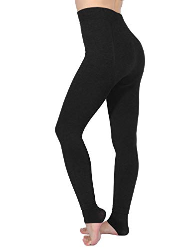Aiglam Thermal Leggings Women, Fleeced Lined Leggings Womens Plus Size High Waist Leggings Ladies Thick Tights Soft Stretch for Home Outdoor Cold Weather(Black)