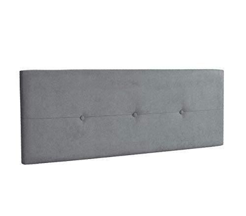 DHOME Cabecero de Polipiel o Tela AQUALINE Pro cabeceros Cabezal tapizado Cama Lujo (Tela Gris, 145cm (Camas 120/135/140))
