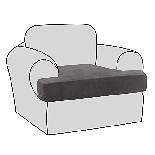H.VERSAILTEX Stretch Velvet T Cushion Chair Covers for Living Room Armchair Sofa Cover Couch Cover Slipcover T Cushion Seat Cover Stay with Elastic Bands, Grey