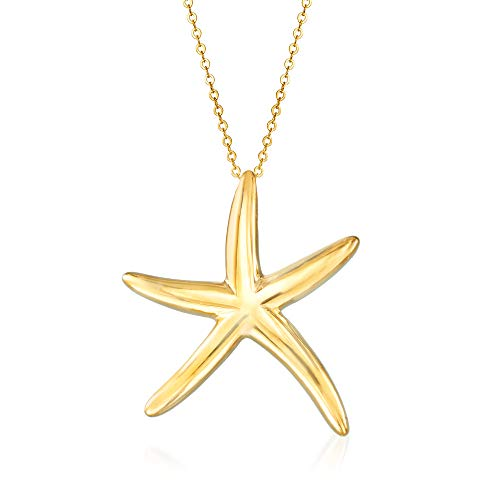 Ross-Simons Italian 14kt Yellow Gold Starfish Pendant Necklace. 18 inches