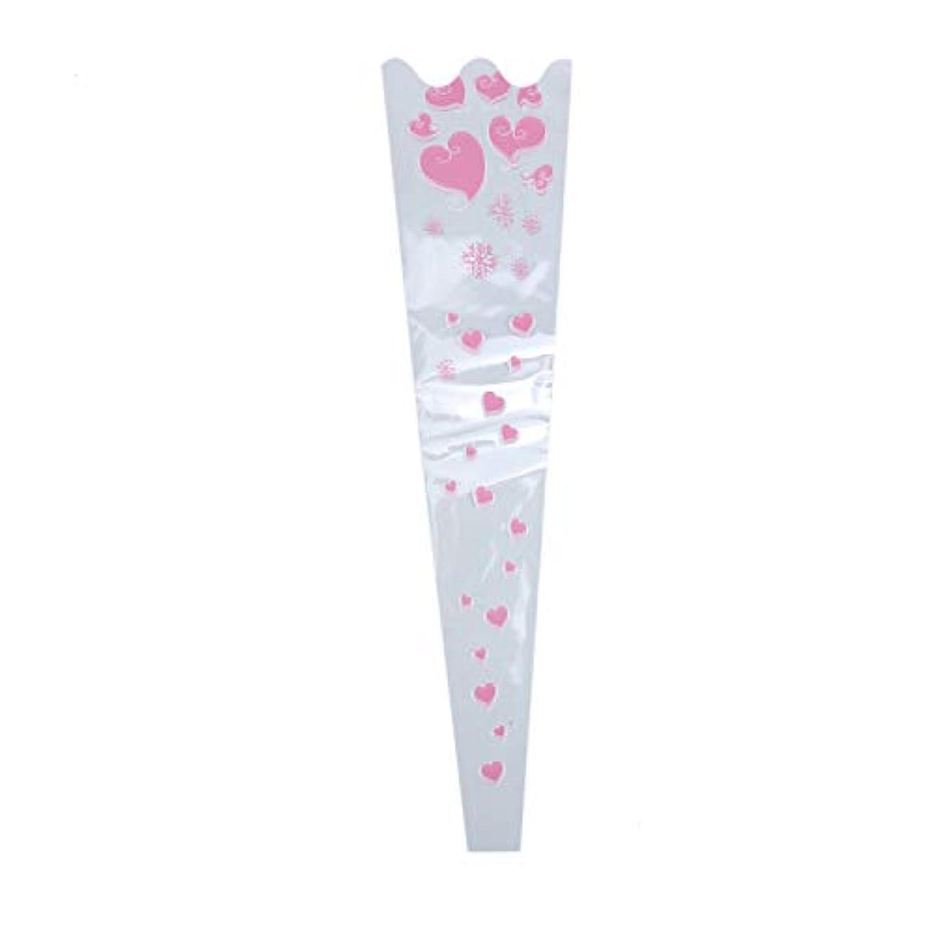 Monrocco 200 Pcs Pink Heart Flower Gift Bag Single Rose Packaging Bags