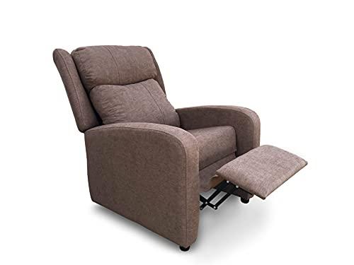 Sillón butaca reclinable Acolchado. Sillón Respaldo reclinable y reposa pies (Marrón)