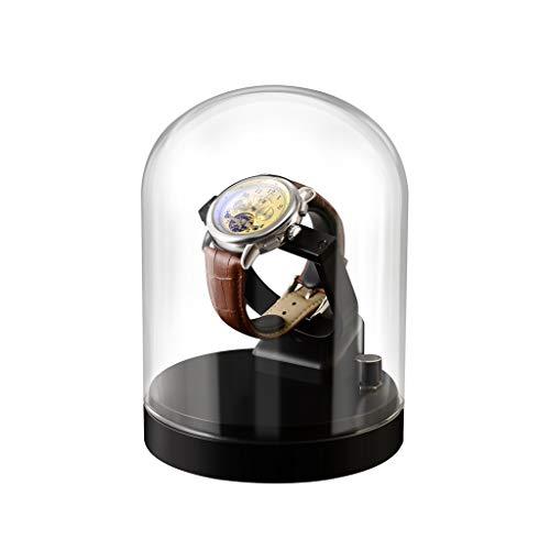 KHUY Caja para relojes automáticos, caja de reloj con cubierta de cristal transparente, caja de almacenamiento para 1 solo reloj, motor extremadamente silencioso (color: estilo A negro)