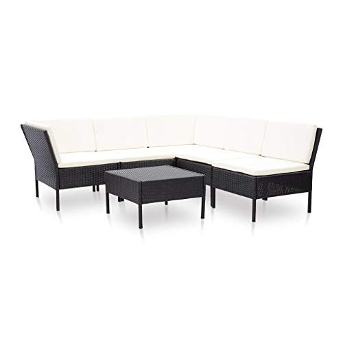 vidaXL 6-Piece Garden Lounge Set with Cushions Poly Rattan Black