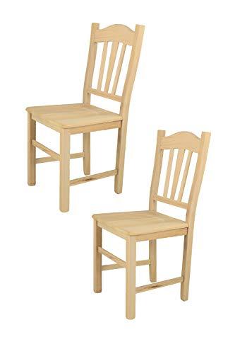 Tommychairs sillas de Design - Set de 2 sillas clásicas Silvana para Cocina, Comedor, Bar y Restaurante, con solida Estructura en Madera de Haya lijada, no tratada, 100% Natural y Asiento en Madera