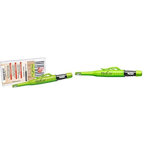 Pica Marker Dry Longlife Automatic Pen 3030 + 10 St. Graphit-Mine 4050, Ersatzminen & Tieflochmarker Dry Longlife, langlebiger Marker mit Spitzer und Halteclip, Spezial-Graphitmine 2.8 mm,grün