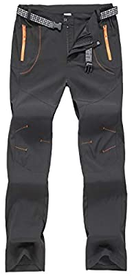 TBMPOY Men's Outdoor Quick Dry Hiking Mountain Cargo Pants Zipper Pockets(Black.US 34)