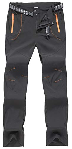TBMPOY Men's Outdoor Quick Dry Hiking Mountain Cargo Pants Zipper Pockets(Black.US 38)