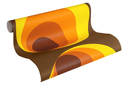 A.S. Création Vliestapete Retro Vision Tapete im Retro Design Retrotapete 70er Jahre Style 10,05 m x 0,53 m braun gelb orange Made in Germany 701312 7013-12