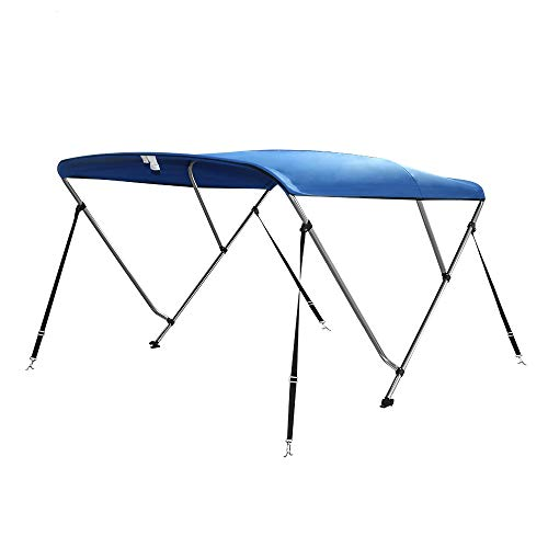 """Seamander 3-4 Bow Bimini Top Boat Cover 4 Straps for Front and Rear Includes with Mounting Hardware (Pacific Blue, 3 Bow 6'L x 46"""" H x 85""""-90"""" W)"""