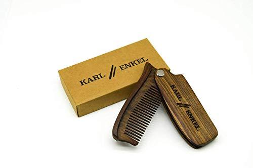 Karl & Enkel pettine pieghevole portatile in legno di sandalo, ideale per barba e baffi