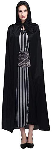 BUZIFU Capa con Capucha Negra 170 cm Capa de Halloween Unisexo Disfraz de Halloween Adultos Niños Disfraz de Vampiresa Oscura Disfraz de Fantasma Brujo o Mago, para La Noche de Halloween, Carnaval(L)