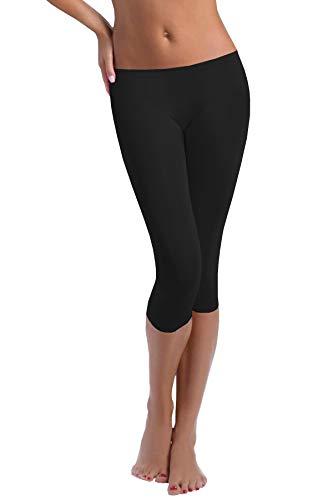 FUNGO Leggings 3/4 Lunghezza Leggins Da Donna Yoga Fitness Palestra Pantaloni (48, Nero)