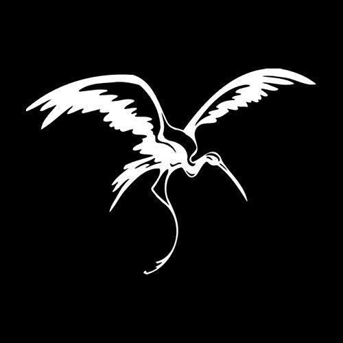 SUIFENG Pegatinas de Coche 16.1 cm x 11.5 cm Animal grúa pájaro Tribales Volando Negro/Plata Coche Pegatina Vinilo