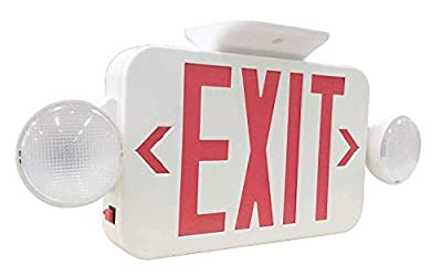YaoKuem LED Combo Emergency EXIT Sign with 2 Adjustable Head Lights and Back Up Batteries- US Standard Red Letter Emergency Exit Lighting, UL 924 and CEC Qualified, 120-277 Voltage (1-Pack)