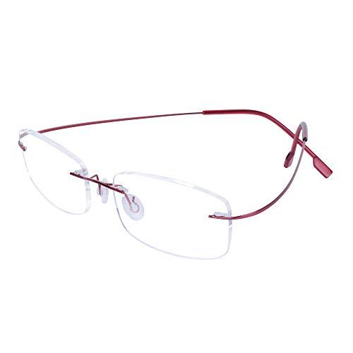 Gafas de Lectura sin Montura +1.0(45-49 años) para Hombres y Mujeres Metal Flexible Patillas Ligero (13g) Lente Transparente + Funda