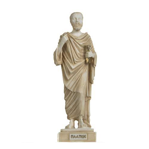 Figura de padre griego de la filosofía de Platón estatua de Alabastro hecha a mano en oro 9.5 pulgadas