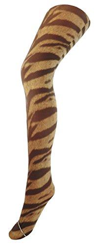 Fibrotex Damen Strumpfhose bedruckt Print Strumpfhose, Größe:M, Farben alle:Tiger