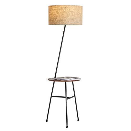WPCBAA Creatieve vloerlamp met 3 poten met ronde houten tafel E27 woonkamer slaapkamer lounge lamp lampenkap staande lamp