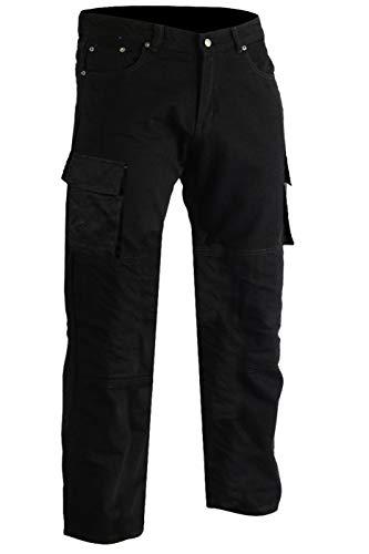 German Wear Motorradjeans Motorradhose, Futter aus Kevlar® stoff Cargohose mit Protektoren, 38W / 34L, Farbe:Schwarz