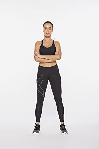 ZKAIAI 2XU Women's Light Speed Mid-Rise Compression Tights, Black/Black Reflective, XL