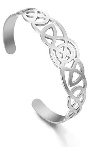 LIKGREAT Celtic Knot Bracelet Stainless Steel Hollow Design Jewelry for Women (Silver Tone)