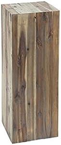 DuNord Design - Colonna Decorativa con Fiori e piedistallo, in Legno Massiccio, Stile Vintage, 75 cm