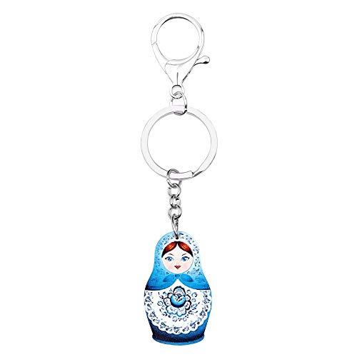 GPZEDCDB Schlüsselanhänger Schlüsselring Acryl Nette Russische Puppe Matroschka Blume Schlüsselanhänger Frauen Mädchen Handtasche Anhänger Modeschmuck Schlüssel Zubehör