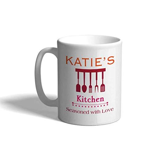 Taza de café personalizada de cerámica de 11 onzas de cocina, inauguración de una casa, taza de té blanca, cocina