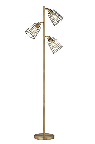 Modern Floor Lamp for Living Room Bright Lighting Tall Stand Up Lamp Farmhouse Rustic Industrial Brown Brass Tree Floor Lamps for Bedrooms, Office with Reading Light Standing Lamp