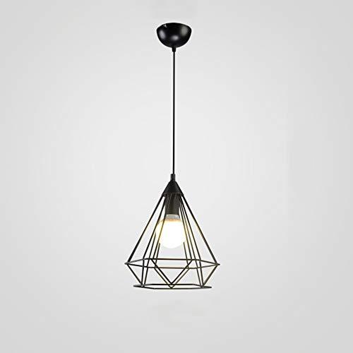 GLJXG Plafonnier Lustre, Retro Iron Art Industriel Style Restaurant Café Chambre Diamant Lustre Lumière pendante (Couleur : Noir, Taille : 25 * 30CM)