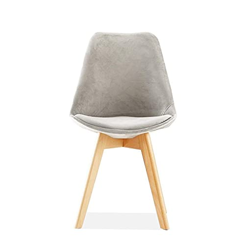 YQG Flannel Dining Table and Chair, Bar Lounge Cafe Chair Nordic Plastic Wooden Legs Simple Chair (2 Pcs) (Color : Gray)