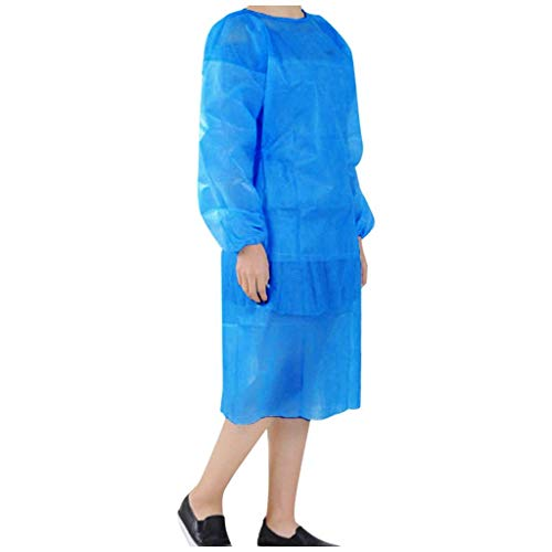 Centory (3/5/10PCS) Disposable Gown,Protective Suit,Isolation Gowns,Disposable Isolation Clothing (Blue, 3PC)