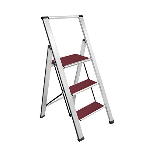 "Sorfey Aluminum Folding 3 Step Ladder Stool for Adults, Anti Slip, Sturdy, 2"" Slim Design, Very Easy to Store, Heavy Duty Stepping Stools, Silver/Mahogany"