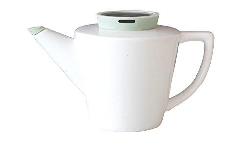Viva Scandinavia Théière en Porcelaine avec infuseur thé en Acier Inoxydable, 1.2 L, théière Blanche et Couvercle Vert, Bec Anti-Gouttes