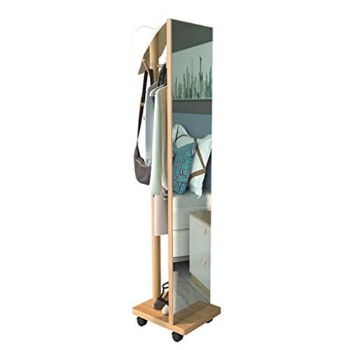 SYQS Massivholz Ganzkörperspiegel Kleiderständer Bodenspiegel Schlafzimmer Home Dressing Spiegel Kleidungsbeschlag Spiegel Beweglich
