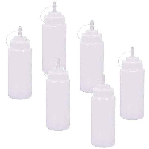 Integrity.1 Bottiglia di Salsa di plastica Bianca, 6 Pezzi, Materiale di qualità Alimentare in PE, per condimento Alimentare Salsa di Senape, Salsa di Senape, lubrificante per stoccaggio
