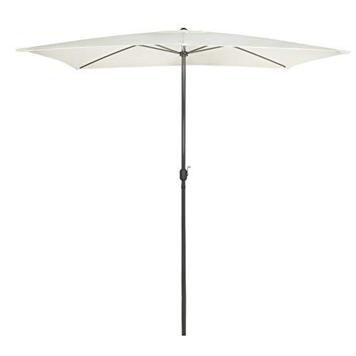 Aktive Garden 53877 Parasol Rectangular para Balcón con Mástil de Aluminio 48 mm, Blanco Roto, 200 x 300 cm