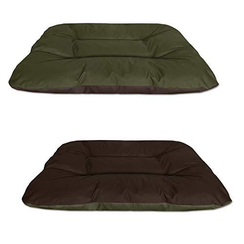 BedDog® 2in1 Hundebett REX, XXL, grün-braun, Wende-Hunde-Kissen oval-rund, großes Hundekörbchen, waschbares Hundebett, Hundesofa für drinnen, draußen