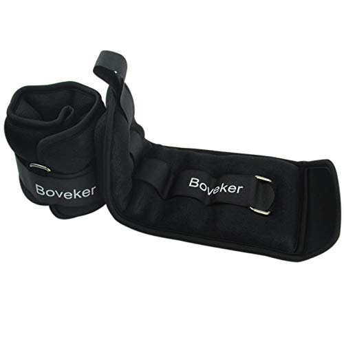 Boveker Ankle Wrist Weights 10 lbs/Pair Adjustable Strap for Men, Women, Kids - Resistance Training, Jogging, Walking, Aerobics - 5 lbs Each