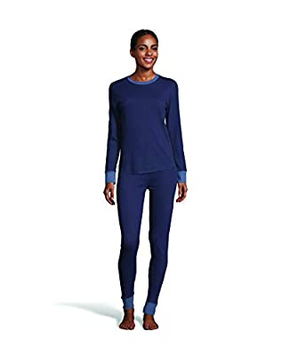 Hanes Women's Color Fusion 2-Ply Crew Neck Thermal Baselayer Tagless Long Sleeve T-Shirt