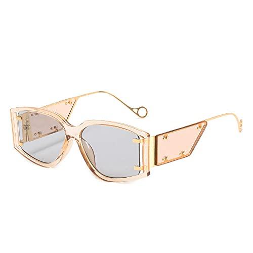 Powzz ornament Gafas de sol cuadradas con remache de lujo para mujer 2021 Steampunk aleación gradiente pequeñas gafas de sol mujer leopardo Shades-C4_Universal_Other