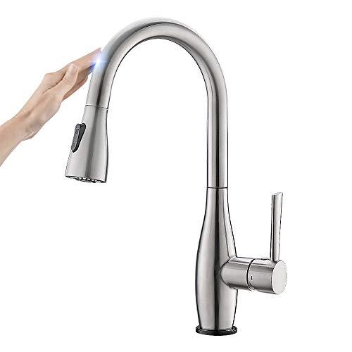 CREA Touch Sensor Einhelmischer Küchenarmatur mit Brause ausziehbar, Spültischarmatur Spülenarmatur für Küchenspüle, Armatur Wasserhahn Küche Edelstahl matt gebürstet