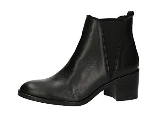 BULLBOXER Damen Chelsea Boots 399504E6L,Frauen Stiefel,Halbstiefel,Stiefelette,Bootie,Schlupfstiefel,hoch,Blockabsatz,Schwarz,EU 38