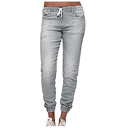 URIBAKY - Pantaloni in jeans con lacci, taglia media, da donna, stile casual in denim, High Waist Skinny' Jeans Trousers Pantaloni da tuta Joggers grandi, Azzurro, L
