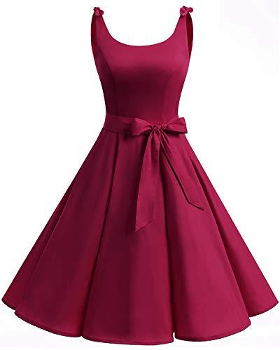 Bbonlinedress 1950er Vintage Polka Dots Pinup Retro Rockabilly Kleid Cocktailkleider Deep Red L